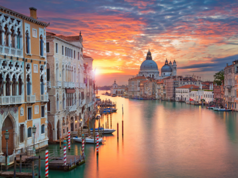 View of the Grand Canal in Venice at Sunset
