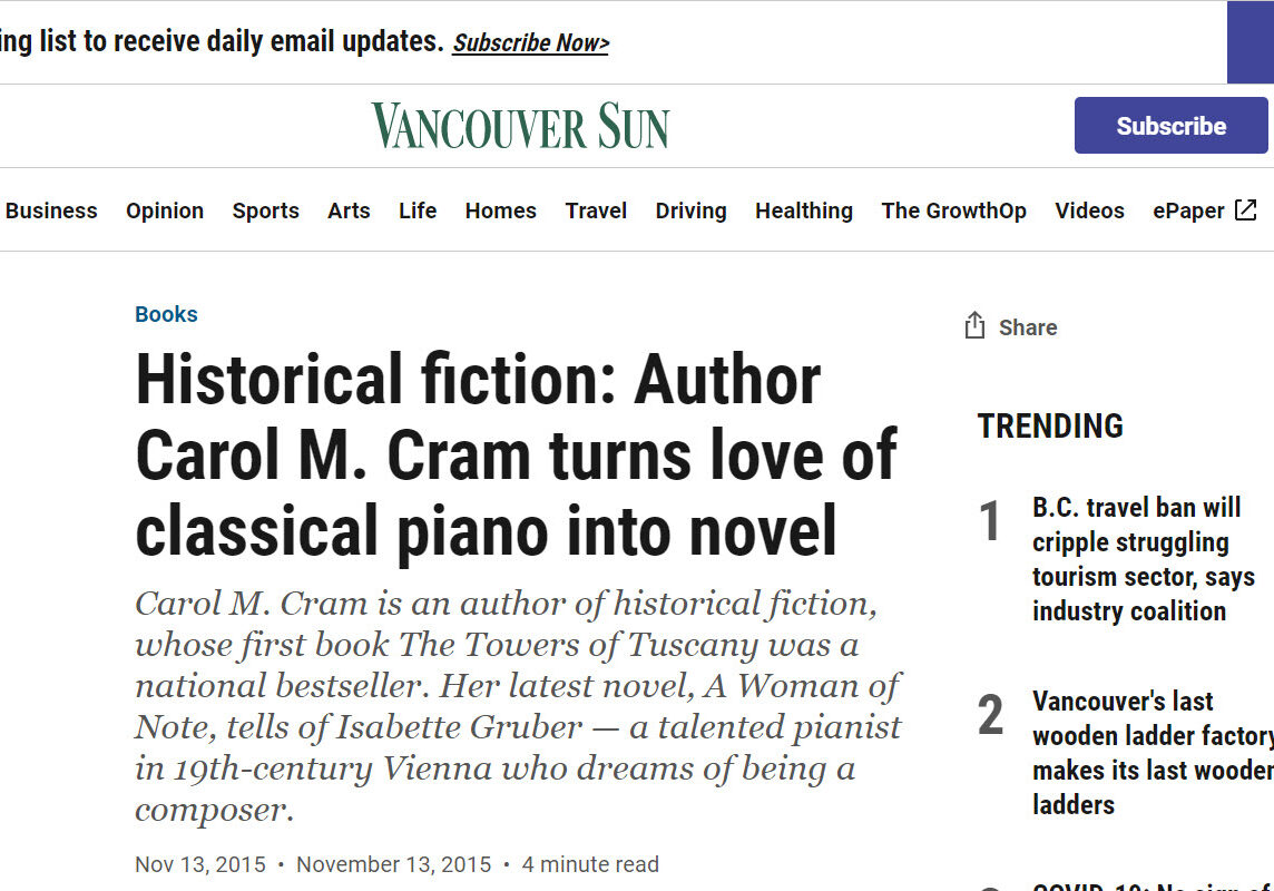 """A Woman of Note"" in The Vancouver Sun"