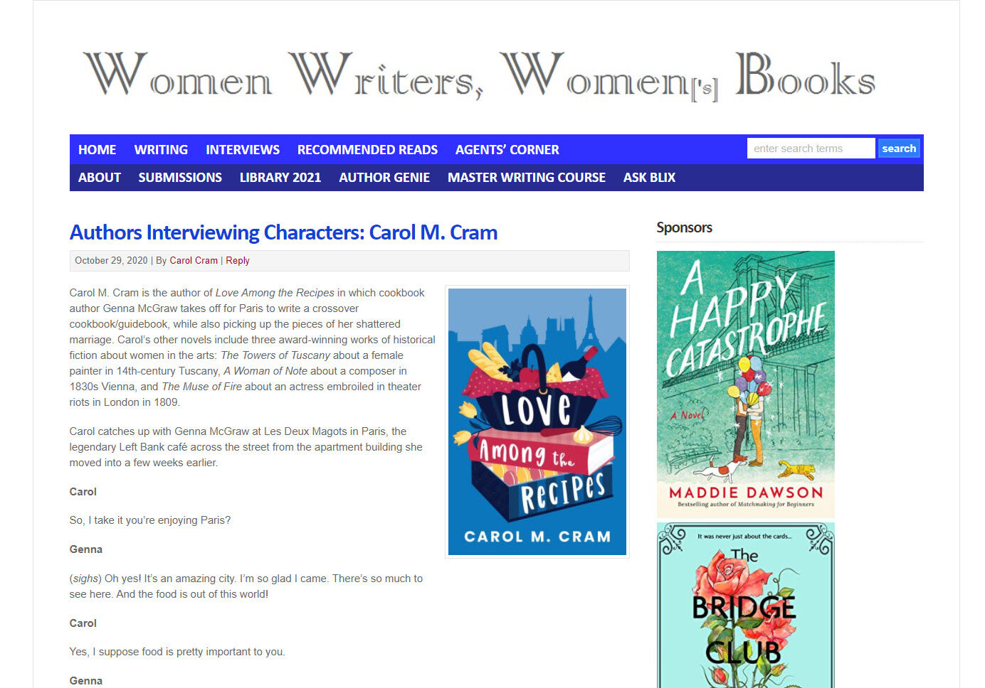 Character Interview: Women Writers, Women's Books